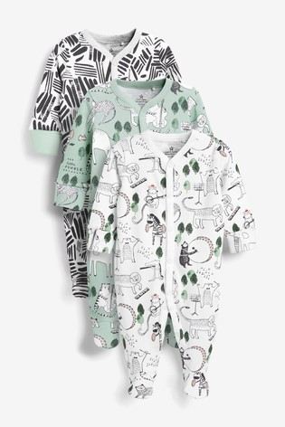 Green/White 3 Pack Jungle Character Sleepsuits (0mths-2yrs)