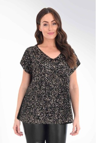 Live Unlimited Curve Black & Gold Sequin Top