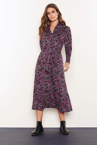 buy plum paisley tie neck midi dress from the next uk