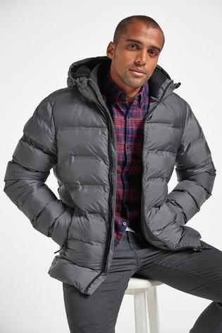 Grey Shower Resistant Heat Seal Puffer Jacket With Fleece Lining