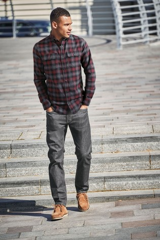 Red Ombre Regular Fit Brushed Flannel Check Long Sleeve Shirt