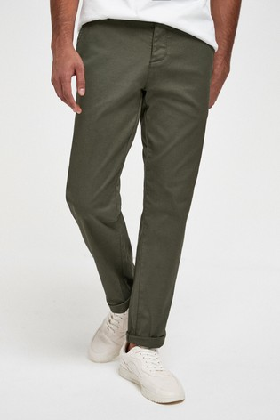 Khaki Straight Fit Laundered Utility Chinos