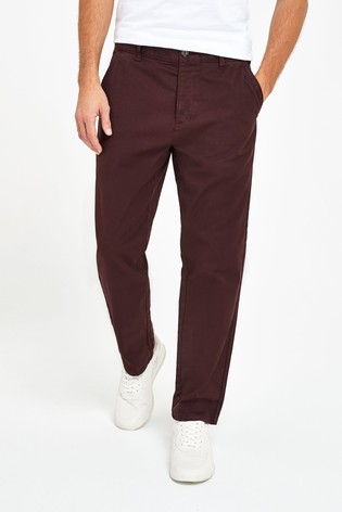 Deep Plum Straight Fit Laundered Utility Chinos