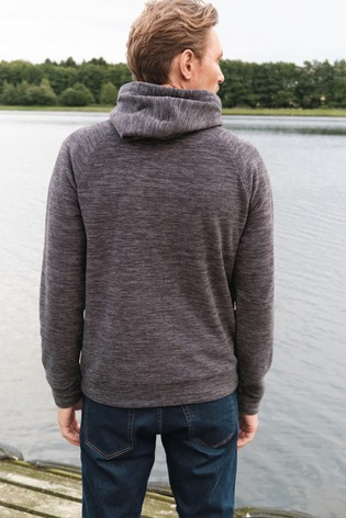 Charcoal Marl Fleece Zip Through Hoody