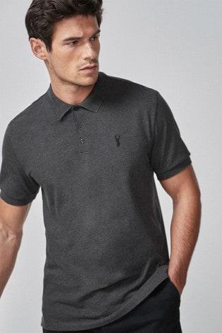 Charcoal Grey Regular Fit Pique Polo Shirt