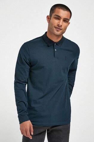 Dark Green Oxford Long Sleeve Pique Poloshirt