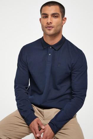 Navy Oxford Long Sleeve Pique Poloshirt
