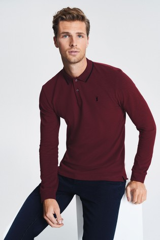 Burgundy Oxford Long Sleeve Pique Poloshirt