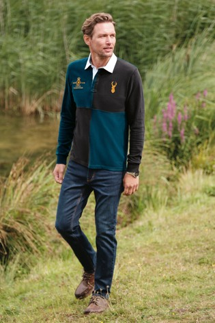 Teal Blocked Rugby Shirt