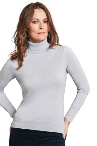 Pure Collection Blue Cashmere Polo Neck Sweater