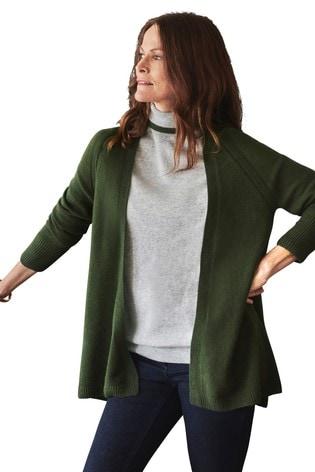 Pure Collection Green Gassato Swing Cardigan