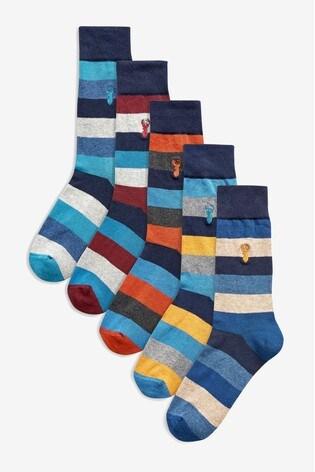 Stripe 5 Pack Cushioned Sole Socks