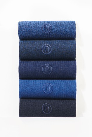 Blue/Navy 5 Pack Mens Embroidered Socks