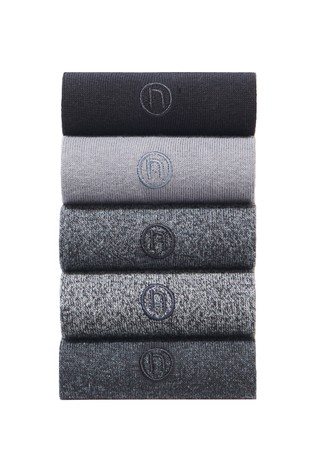 Grey 5 Pack Embroidered Socks