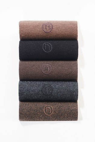 Neutrals 5 Pack Mens Embroidered Socks
