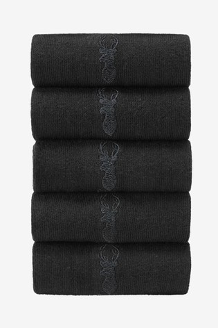 Black Stag Embroidered Socks Five Pack