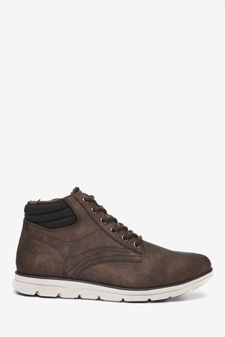 Brown Borg Lined Nylon Sport Boots