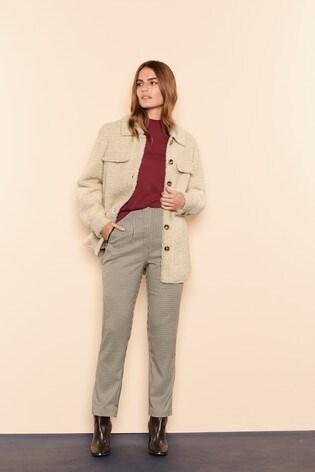 Mono Check High Waist Zip Detail Trousers