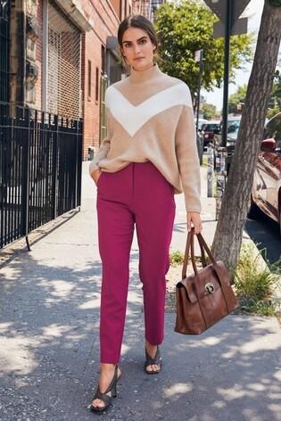Magenta High Waist Zip Detail Trousers