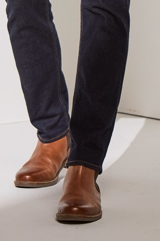 Tan Leather Waxy Finish Chelsea Boots
