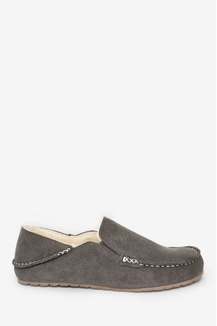 Grey Signature Moccasin Slippers