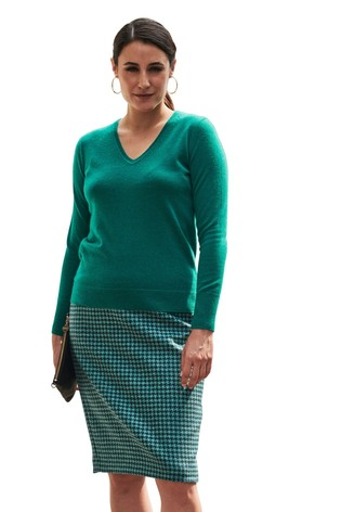 Pure Collection Green Cashmere V-Neck Sweater