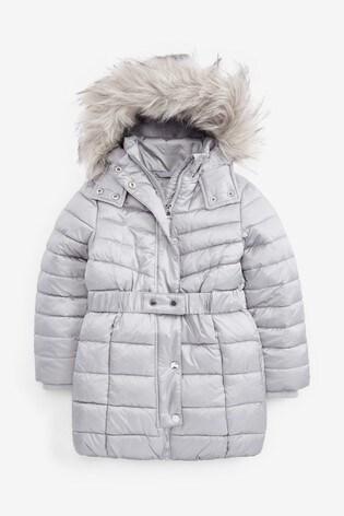 Silver Shower Resistant Belted Padded Jacket (3-16yrs)
