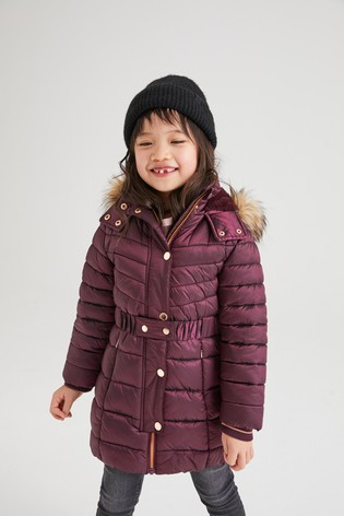 Berry Shower Resistant Belted Padded Jacket (3-16yrs)