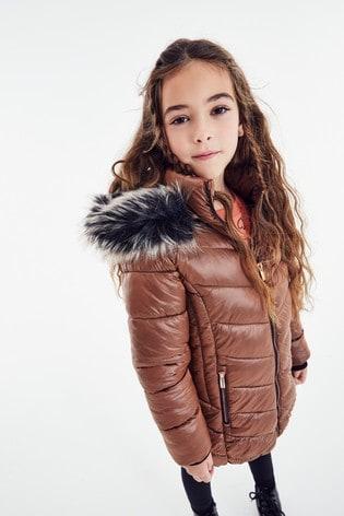 Bronze Faux Fur Trim Shower Resistant Padded Coat (3-16yrs)