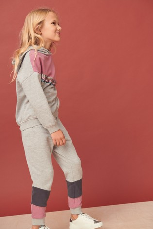 Grey/Pink Pretty Sequin Hoody And Jogger Set (3-16yrs)