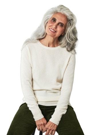 Pure Collection White Cashmere Crew Neck Sweater