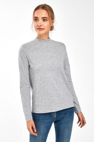 Grey Marl High Neck Long Sleeve Top