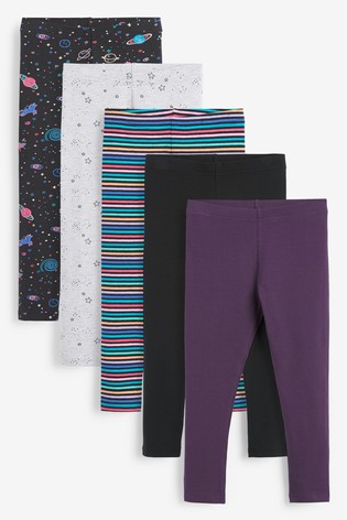 Space Print 5 Pack Leggings (3-16yrs)
