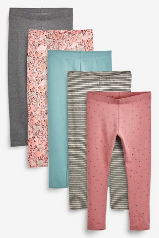 Pink Florals 5 Pack Leggings (3-16yrs)