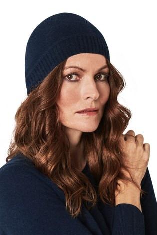 Pure Collection Blue Cashmere Hat