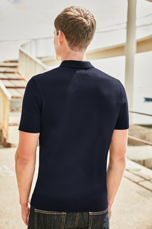 Navy Vertical Stripe Knitted Polo