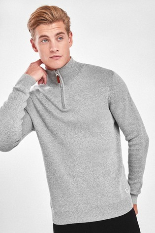 Light Grey Cotton Premium Zip Neck Jumper