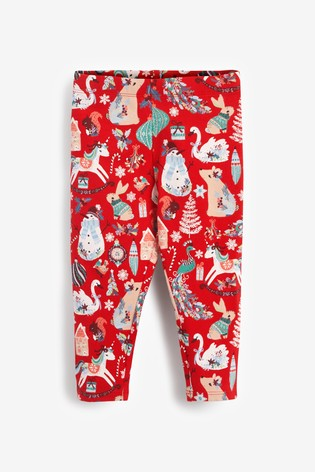 Red Christmas All-Over-Print Leggings (3mths-7yrs)