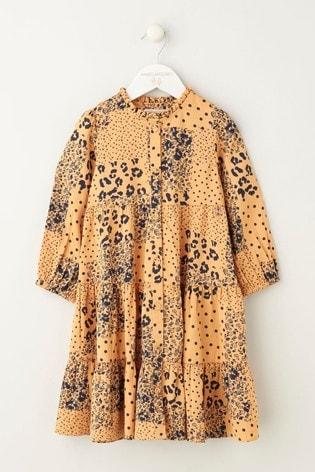 Angel & Rocket Orange Tiered Shirt Dress