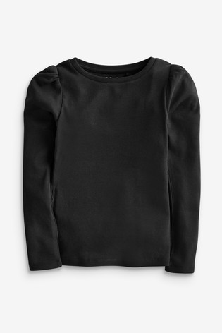 Black Puff Sleeve Ribbed Long Sleeve Top (3-16yrs)