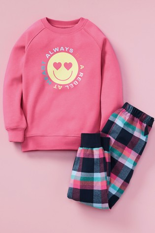 Pink/Navy Cosy Bright Sweat Top With Woven Bottoms Pyjama Set (3-16yrs)