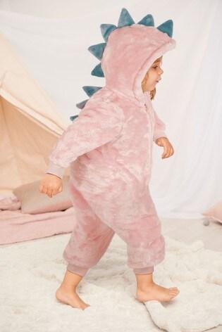 Pink 3D Dinosaur Fleece All-In-One (9mths-8yrs)