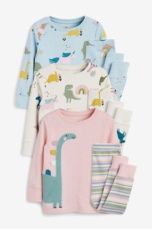 Pink/Cream/Blue 3 Pack Dinosaur Snuggle Pyjamas (9mths-12yrs)
