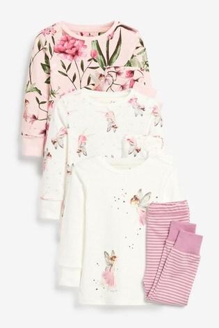 Pink/Cream 3 Pack Fairy Appliqué Snuggle Pyjamas (9mths-8yrs)