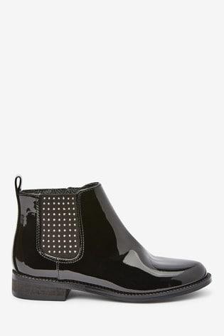 Black Patent Chelsea Boots (Older)