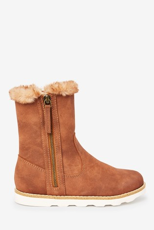 Buy Tan Faux Fur Lined Boots (Older