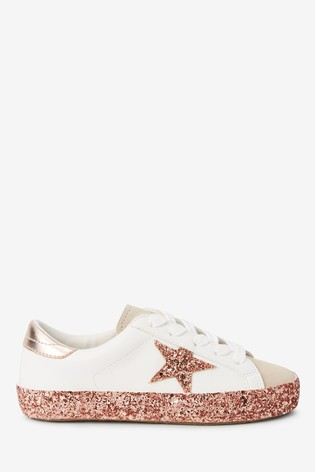 White Glitter Sole Star Lace-Up Trainers (Older)