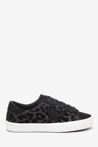 Black Leopard Star Lace-Up Trainers (Older)