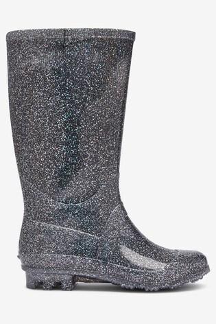 Silver Glitter Wellies (Older)
