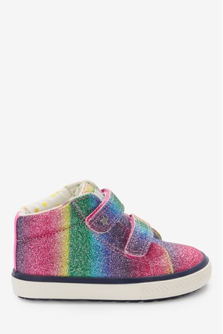 Rainbow Glitter Touch Fastening High Top Trainers (Younger)